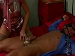 Nice romantic video category bdsm (335 sec). Femdom slut eats bondage cock.
